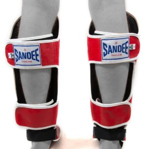 Sandee Authentic Red & White Leather Boot Shinguard