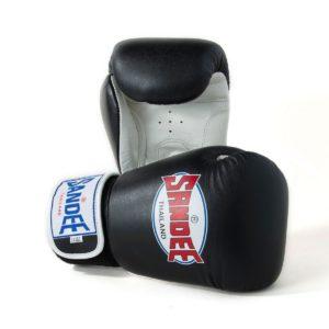 Sandee Authentic Velcro Black & White Leather Boxing Glove