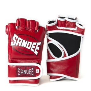 SANDEE Red and White leather MMA Fight Gloves