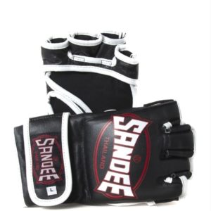 SANDEE Black and White leather MMA Fight Gloves